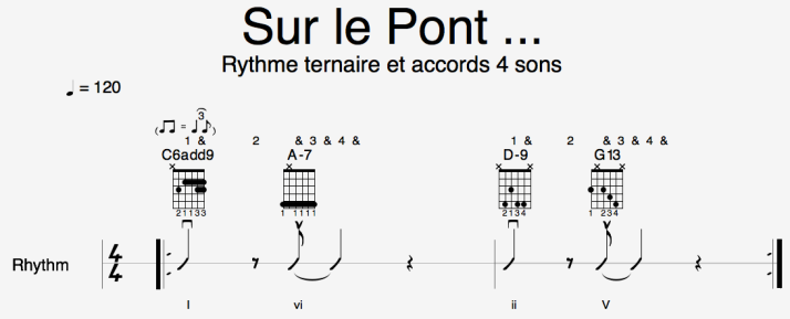 Piste Ryt - Sur le Pont - mélodie ternaire et accords 4 sons