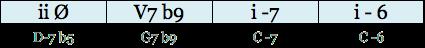 img progression i V7b9 i-7 i-6