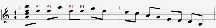Pedal tone over A-9